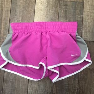Nike dri-fit running shorts pink and gray lined Sm